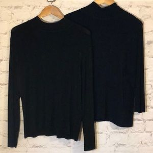 CHICOS BLACK & NAVY TURTLENECK TOPS